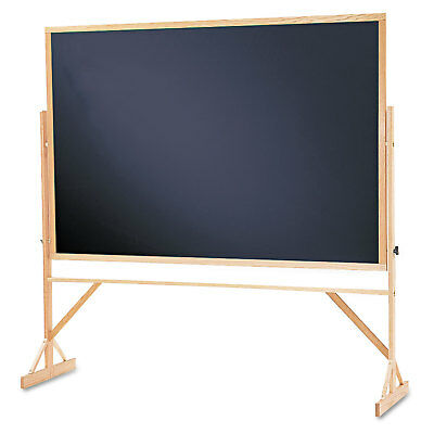Quartet Reversible Chalkboard 72 X 48 Black Surface Oak Frame Wtr406810