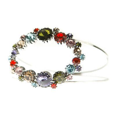 JOOMI LIM Multi-Color Double Band Oval Crystal Bangle Bracelet NEW