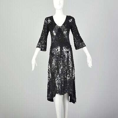 80s Dresses | Casual to Party Dresses M Black Dress 1980s Fully Sequin 3/4 Sleeves Scalloped Hem Cocktail LBD 80s VTG $178.50 AT vintagedancer.com