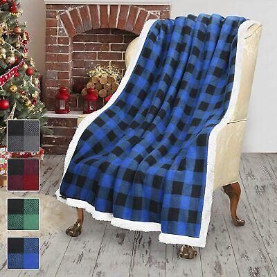 Blue Plaid Checker Christmas Throw Blanket Soft Sherpa Fleece for Sofa Couch