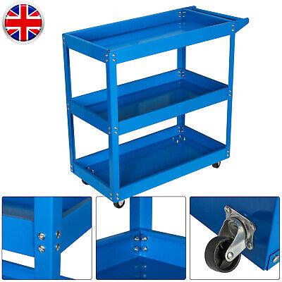 3Tier Heavy Duty Mechanical Garage Trolley Workshop Tool Storage Cart Shelf Blue