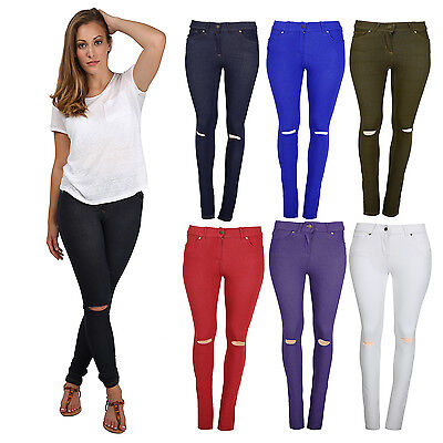NEW LADIES RIPPED SKINNY FIT COLOURED STRETCHY JEANS WOMENS JEGGINGS SIZE 8-16