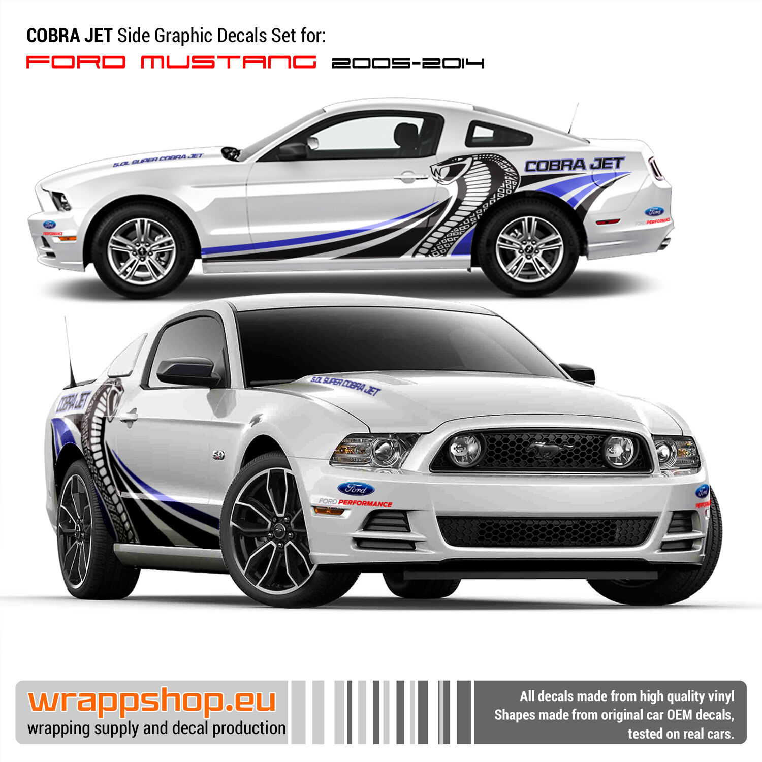 Details about cobra jet side graphic decals set for ford mustang 2005 2014 in blue black
