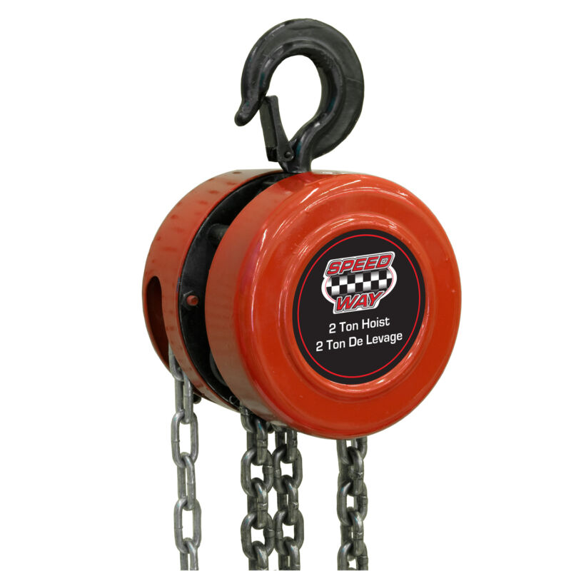 Speedway 2 Ton Chain Hoist with Drop Forged Hooks and 8 ft 2 in lift height