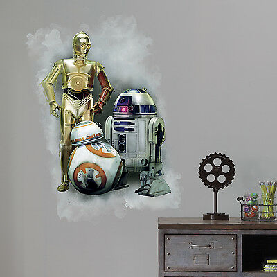 - C3P0 R2D2 BB-8 GiaNT WALL DECALS NeW Star Wars The Force Awakens Stickers Decor