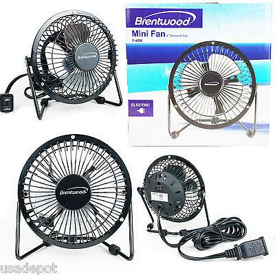 """Mini Fan Electric 4"""" Personal Desk Fan Black Metal Blade Hig"""