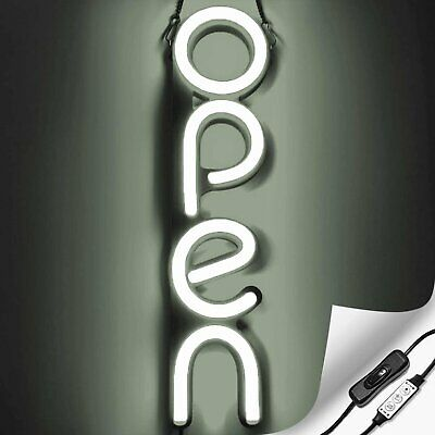 Vertical Led Neon Open Sign For Business - White
