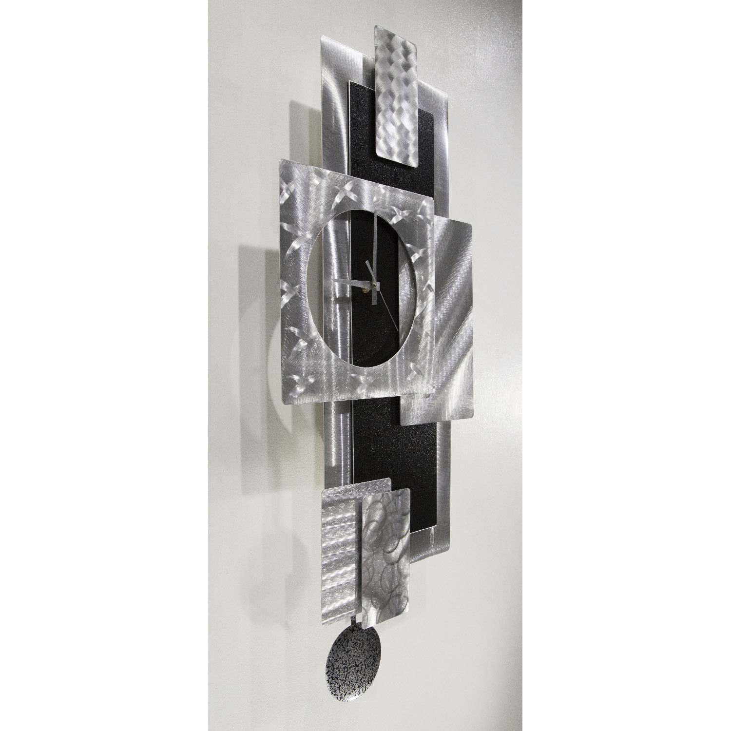 Statements2000 3D Metal Wall Clock Art Modern Silver Black Decor by Jon Allen