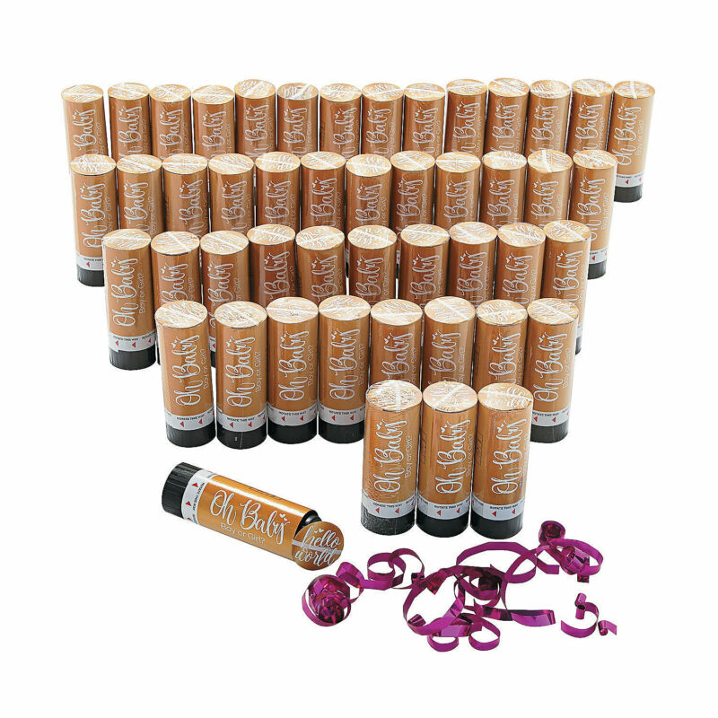 Oh Baby! Pink Gender Reveal Confetti Poppers - Baby Shower Party Decor  - 48 Pcs