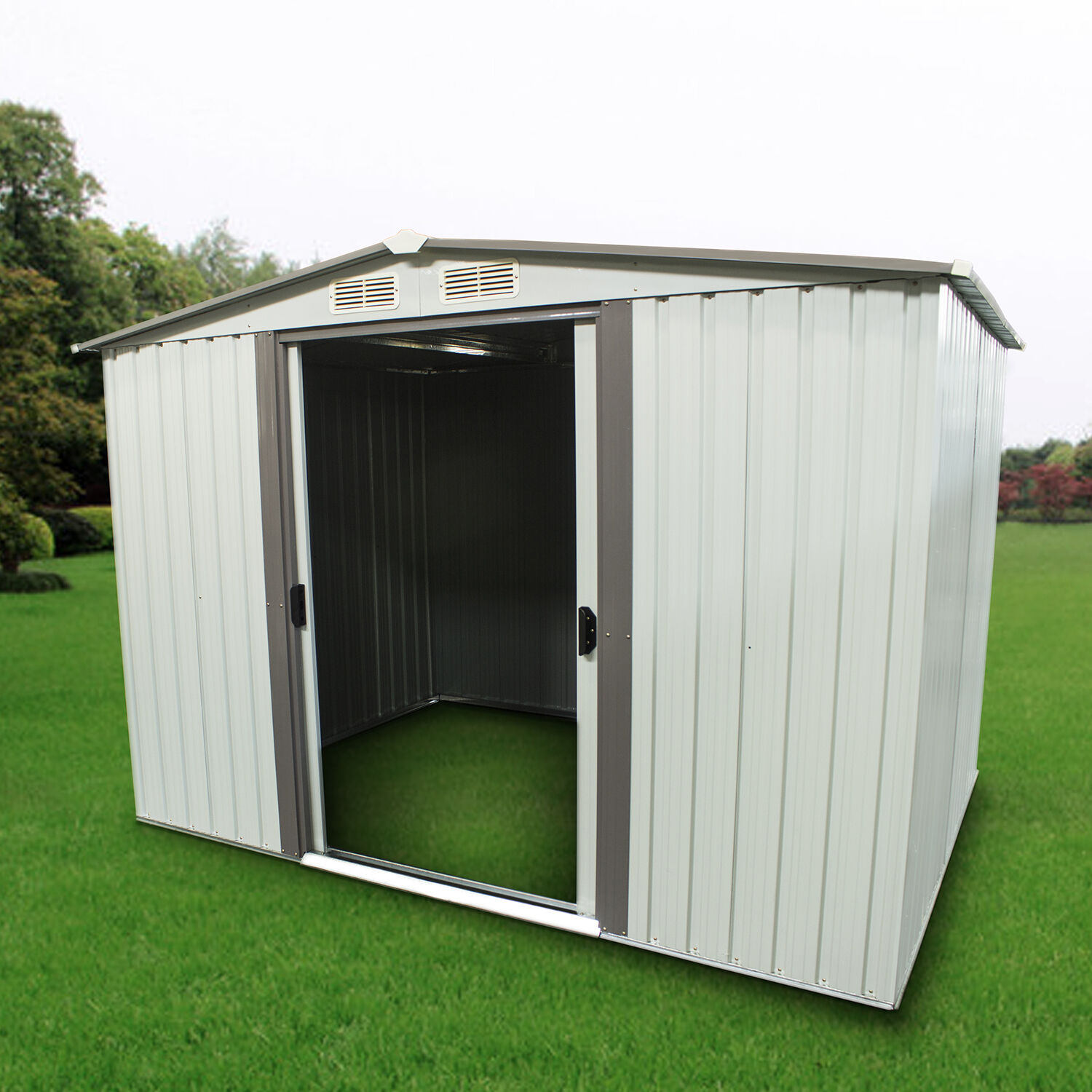 Outdoor storage shed steel garden utility tool backyard for Utility storage shed