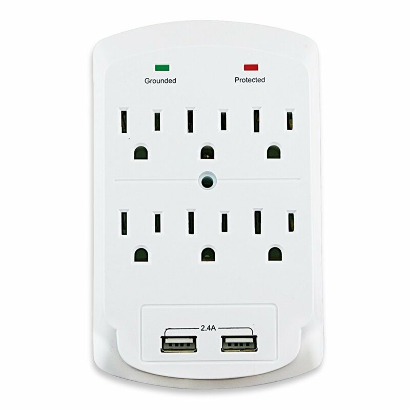 Dukens 6 outlets Surge Protected Current Tap With 2 USB - White - DK-62UW1