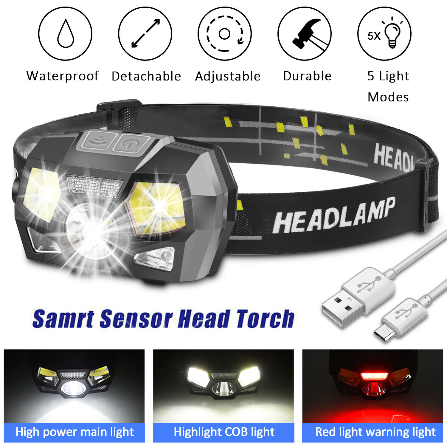 LED Headlamp USB Rechargeable Headlight Head Lamp Flashlight Camping Waterproof