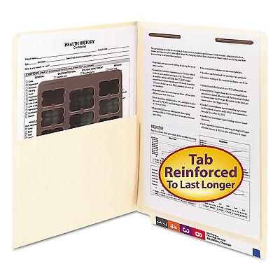 Smead Reinforced End Tab Pocket Folder Fastener Straight Cut Letter Manila 50