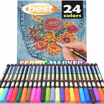 Permanent Fabric Markers (Fabric Markers Permanent Pen Set For Paint Clothing T-Shirt Textile Shoes Paint)