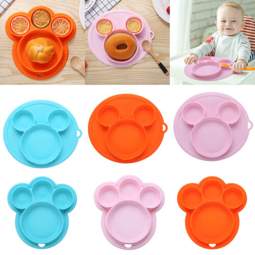 Safe Silicone Plate Stable Bowl Toddler Infant Kid Baby Feeding Dishes Tableware