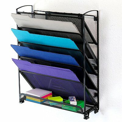 6 Tier Wall Mount Document Letter Tray Organizer Black