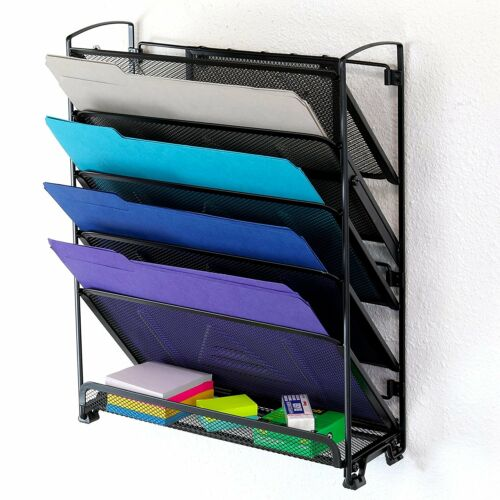 6 Tier Wall Mount Document Letter Tray Organizer, Black