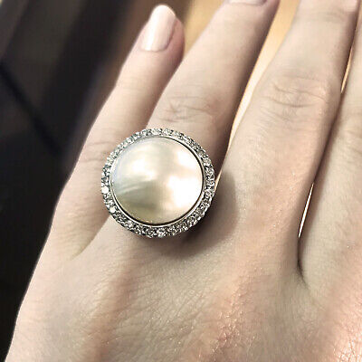 16 mm Cultured Mabe Japanese White Pearl & Diamond 14k White Gold Cocktail Ring 16mm Mabe Pearl