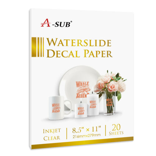 A-SUB 20 Sheets 8.5x11 Inkjet CLEAR Waterslide Decal Transfer Paper Decor Custom
