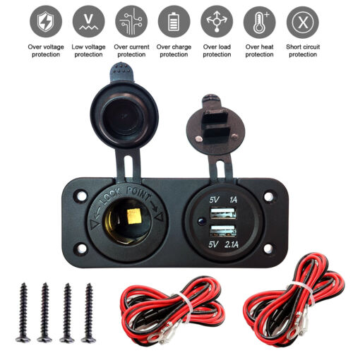 Dual USB Car Lighter Socket Splitter 12V Charger Power Adapter Outlet