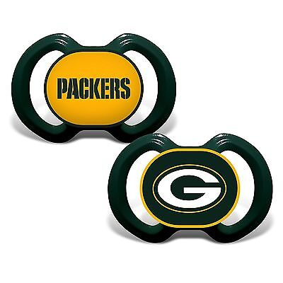 Green Bay Packers Pacifiers 2 Pack Set Infant Baby Fanatic BPA Free NWT - Baby Green Color