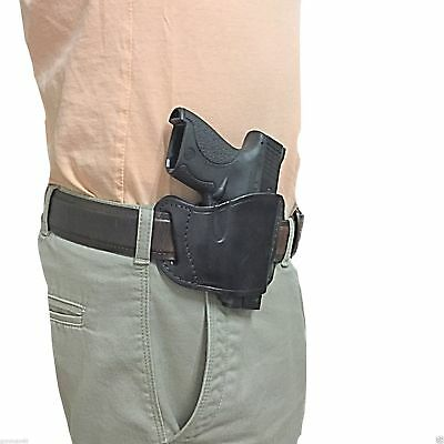 380 Leather Belt Slide Holster - Black Leather Belt Slide Gun Holster for Bersa Thunder 380