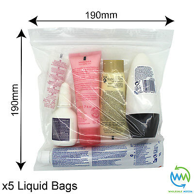 5 x Clear AIRPORT SECURITY LIQUID BAGS Plastic Seal HOLIDAY Travel HAND LUGGAGE