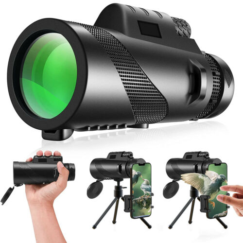 12X55 Zoom Telescope Monocular Low Night Vision Waterproof BAK4 w/ Tripod Stand