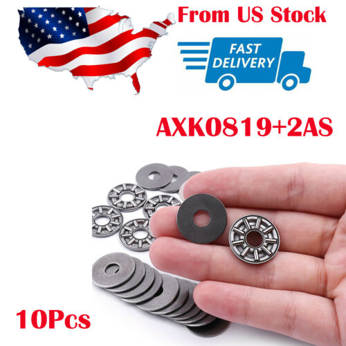 10x 8mm(ID) x19mm(OD) Miniature Thrust Needle Roller Bearing Each With 2 Washers