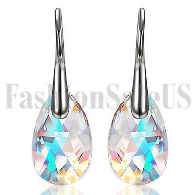 2pcs Women Girls Drop Earrings Made with Swarovski Elements Crystals Aurora Stud Drop Swarovski Elements