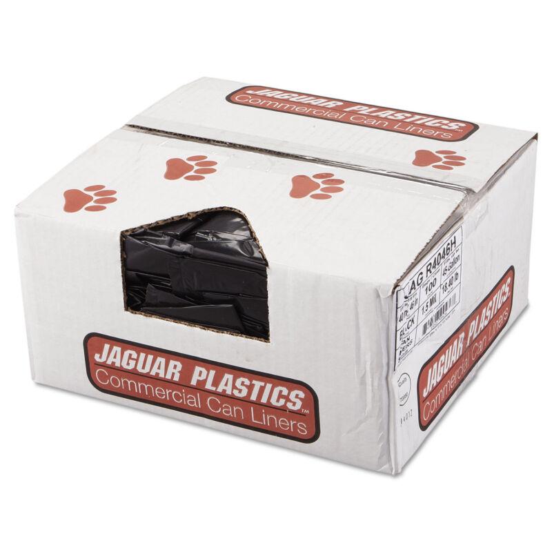 Jaguar Plastics Repro Low-Density Can Liners 1.5 Mil 40 x 46 Black 10 Bags/Roll