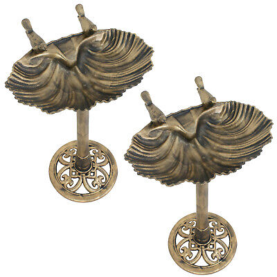 2 Pieces Outdoor Bird Bath Front Yard Decor Stand Pedestal Plastic Antique Gold