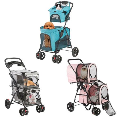 VILOBOS 4 Wheel Pet Stroller Double Layer Cat Dog Jogger Folding Travel Carrier