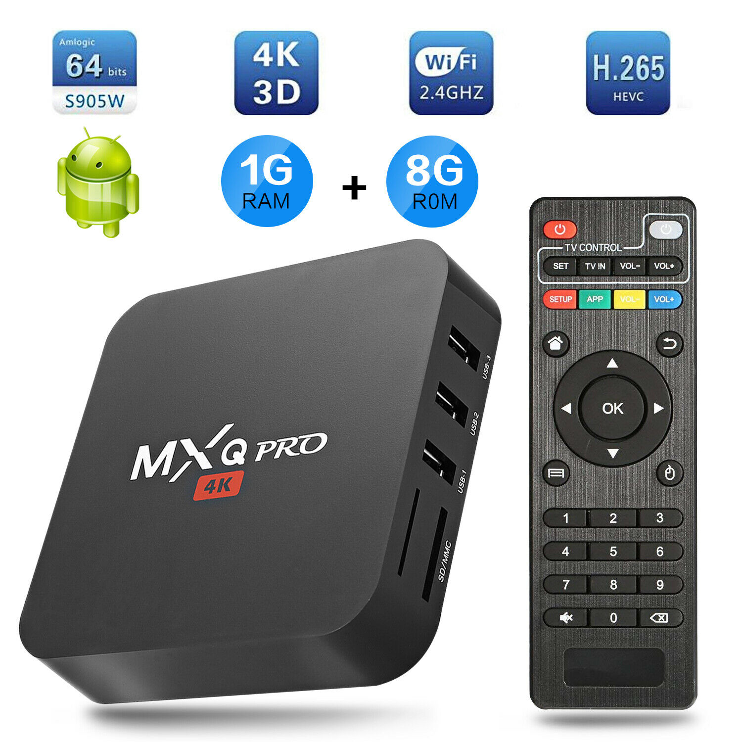 MXQ PRO 4K HD Quad Core Android 7.1 Smart TV Box 1+8GB HDMI WIFI Media Streamer