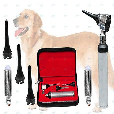 Professional Veterinary Diagnostic Otoscope Set Kit Vet Instrument Free Led Bulb