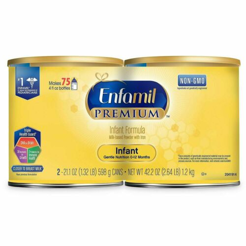 2- Enfamil Premium Non GMO Infant Formula Milk Based Powder 21.1 oz, 0-12