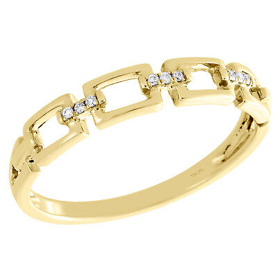 - 10K Yellow Gold Pave Set Diamond Chain Link Stackable Right Hand Ring 0.03 Ct.
