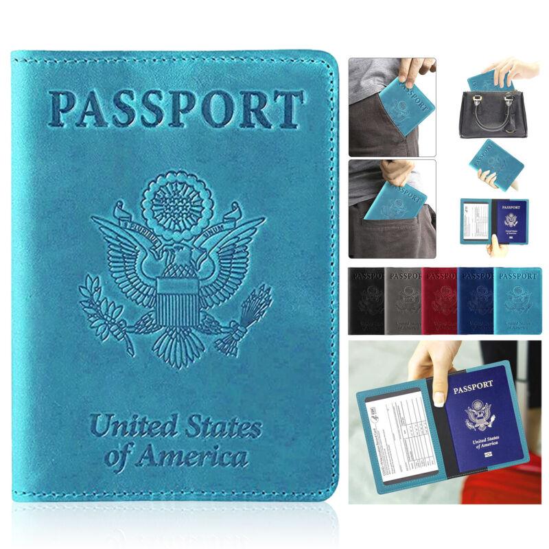 Slim Leather Travel Passport Holder RFID Blocking Case with Vaccine Card Holder