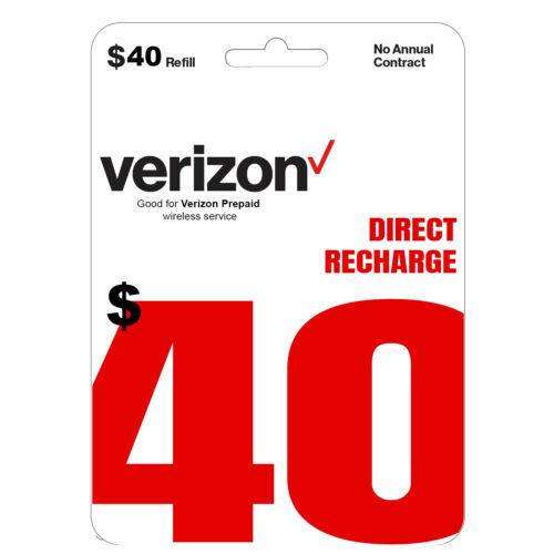 VERIZON Prepaid $40 Refill Top-Up Prepaid Card / DIRECT RECHARGE