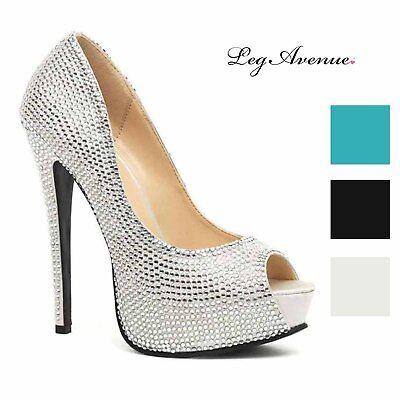 Leg Avenue Women's Glamour Couture Satin and Rhinestone Peep Toe Platforms Heels - Leg Avenue Shoes
