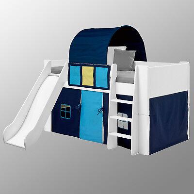 Hochbett Mit Zelt (Hochbett Steens for Kids Bett mit Rutsche MDF weiß Vorhänge Tunnelzelt blau)