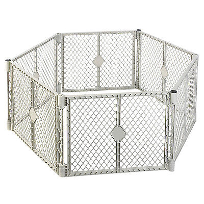North States Superyard Classic Baby Pet Octagon Plastic Gate Play Yard Pen, Gray