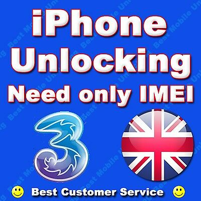 THREE 3 HUTCHISON UK IPHONE 6S 6S PLUS 5S 5C PERMANENT FACTORY UNLOCKING