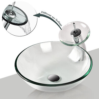 Bathroom Vessel Tempered Glass Sink Round Basin Bowl Waterfall Faucet Drain Set