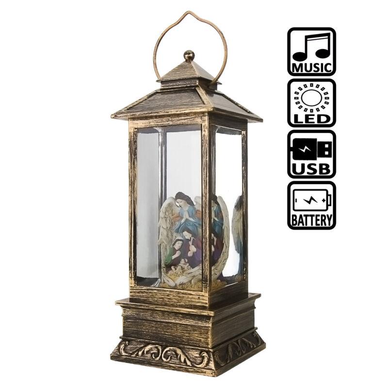 Jesus Angel Christmas Musical Snow Globe Battery Operated LED Lighted Lantern