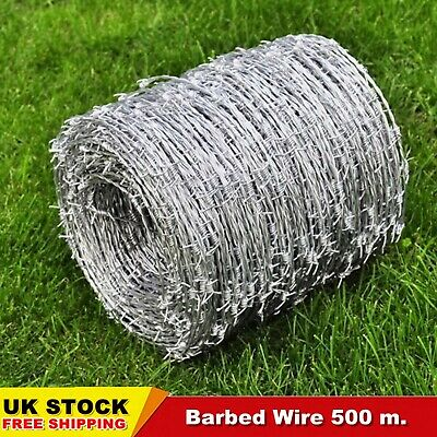 500m Barbed Wire Roll High Tensile Heavy Duty Wire Width 1.6mm Garden Durable UK