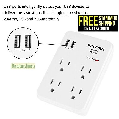 BESTTEN Wall Tap Adapter Outlet Socket Surge Protector with 2 USB Charger, White 2 Outlet Socket Adapter