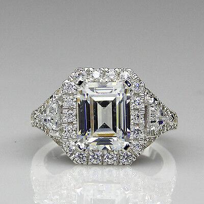Emerald Cut 2ct Moissanite Halo Antique Filigree 14K White Gold Engagement Ring