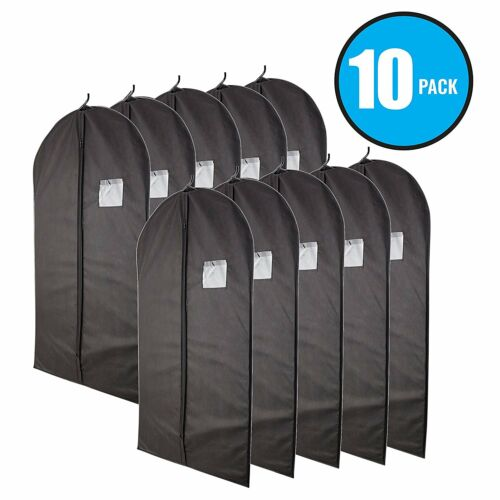 "Plixio 40"" Black Garment Bags for Breathable Storage of Suits or Dresses 10 Pack"