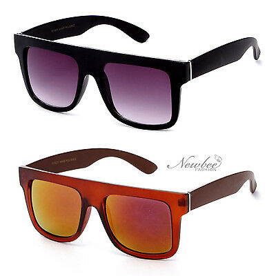 Bold Sunglasses Thick Square Lens Straight Flat Top Sporty Men Women